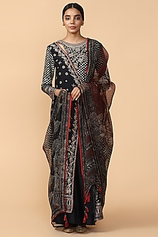 Black Printed & Embroidered Kurta With Pants by Tarun Tahiliani-Shop By Style