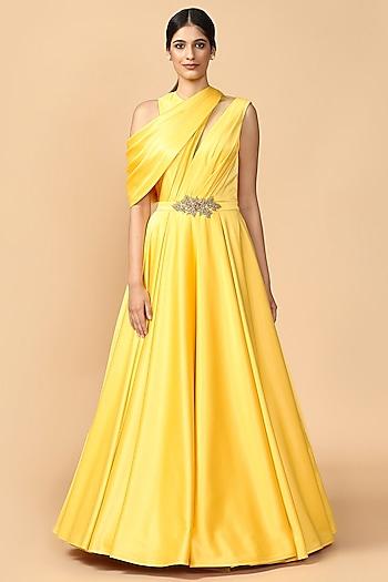 Yellow Embroidered Draped Gown by Tarun Tahiliani