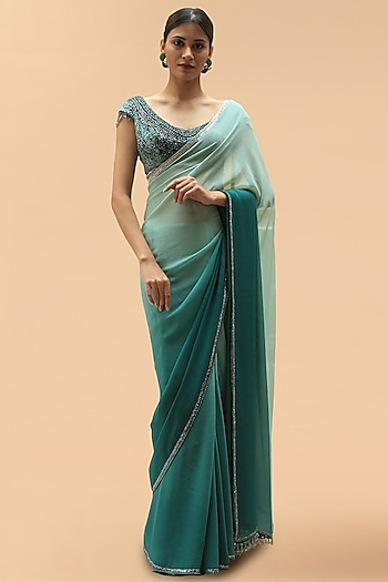 Green Embellished Ombre Saree Set by Tarun Tahiliani