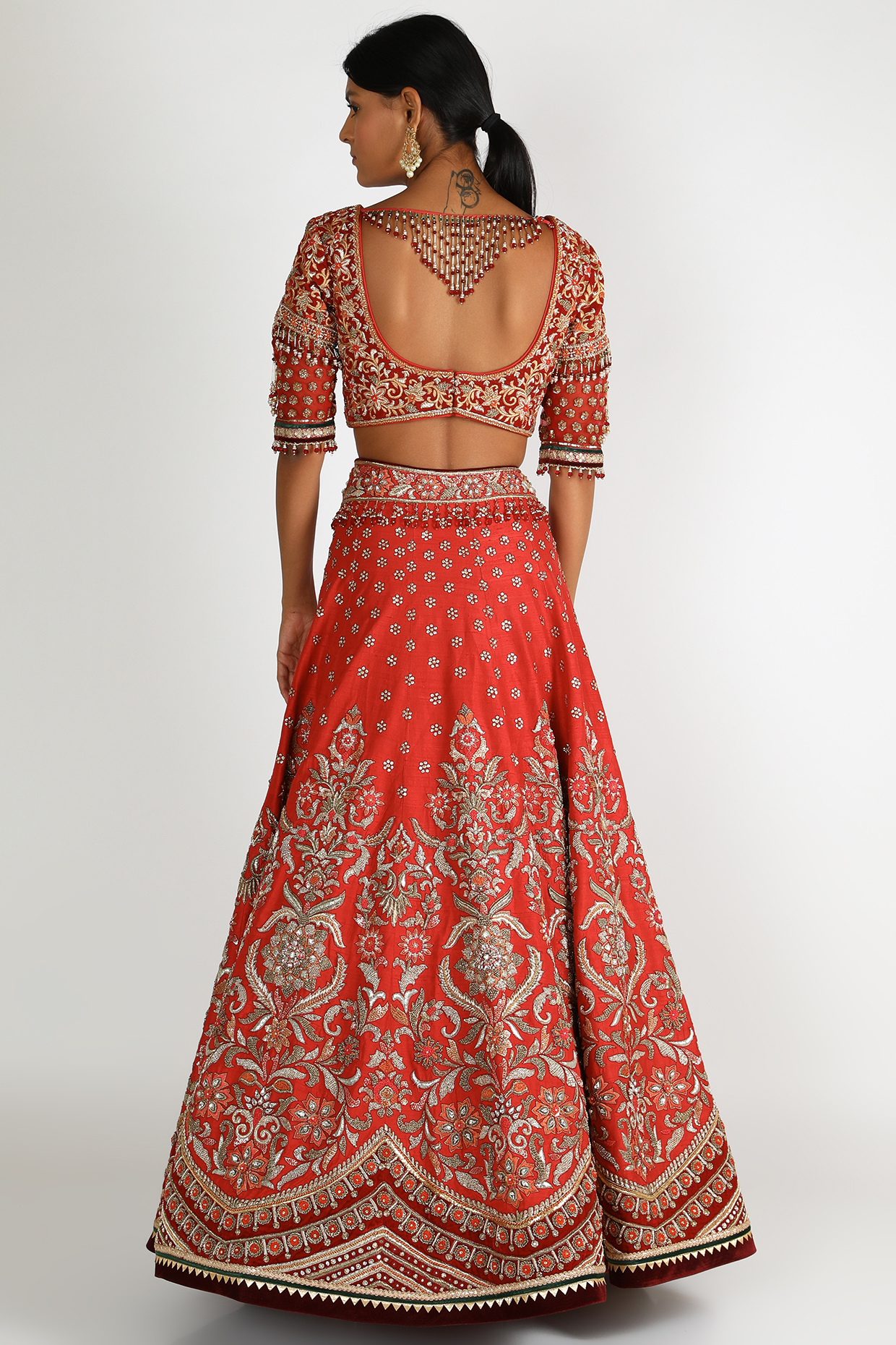Red Gota Embroidered Lehenga Set by Tarun Tahiliani