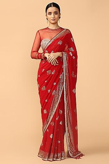 Red Mukaish Embroidered Saree Set by Tarun Tahiliani