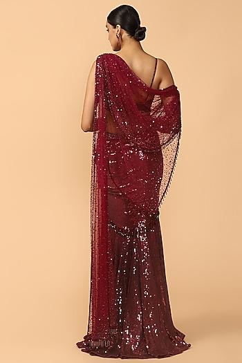 Wine Embroidered Draped Saree Set by Tarun Tahiliani