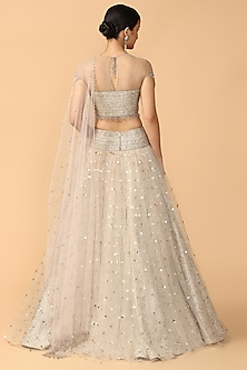 Ivory Embroidered Tulle Lehenga Set by Tarun Tahiliani