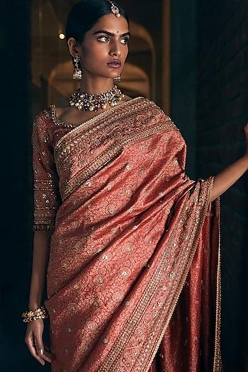 Copper Embroidered Saree Set by Tarun Tahiliani