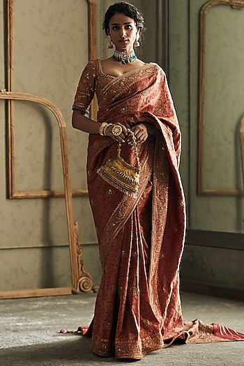 Rose Gold Embroidered Saree Set by Tarun Tahiliani