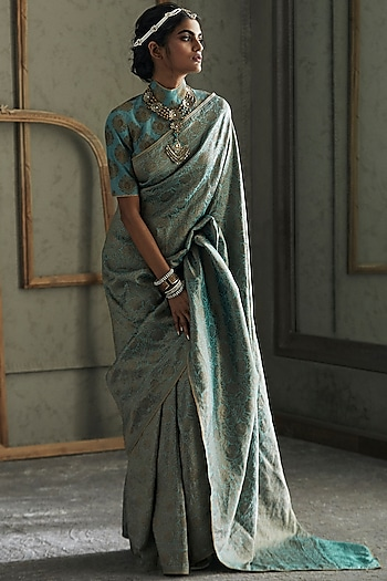 Pastel Bue Embroidered Saree Set by Tarun Tahiliani