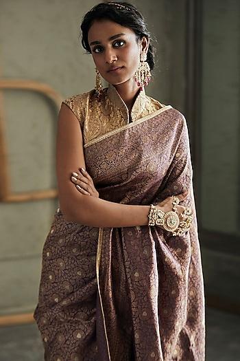 Mauve Embroidered Saree Set by Tarun Tahiliani