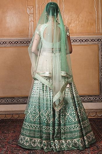 Green Embroidered Lehenga Set by Tarun Tahiliani