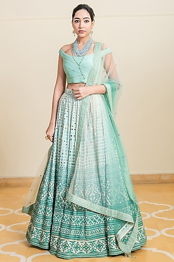 Green Embroidered Raw Silk Lehenga Set by Tarun Tahiliani