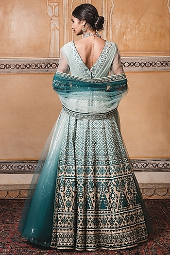 Teal Embroidered Anarkali Set by Tarun Tahiliani