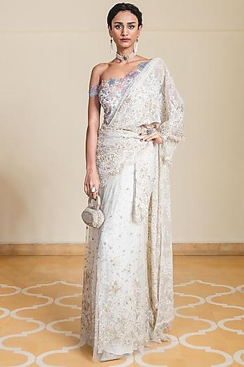 Ivory Embroidered Pre-Draped Saree Set by Tarun Tahiliani
