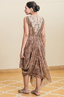 Gold Embroidered & Printed Draped Dress by Tarun Tahiliani