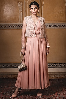Peach Embroidered Gilet Jacket by Tarun Tahiliani