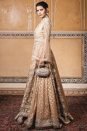 Golden Embroidered Jacket With Skirt by Tarun Tahiliani