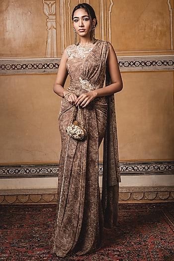 Gold Embroidered Pre-Stitched Saree Set by Tarun Tahiliani