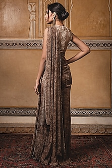 Gold Embroidered Pre-Stitched Saree Set by Tarun Tahiliani