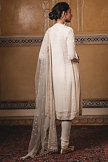 Ivory Embroidered Kurta With Dupatta by Tarun Tahiliani