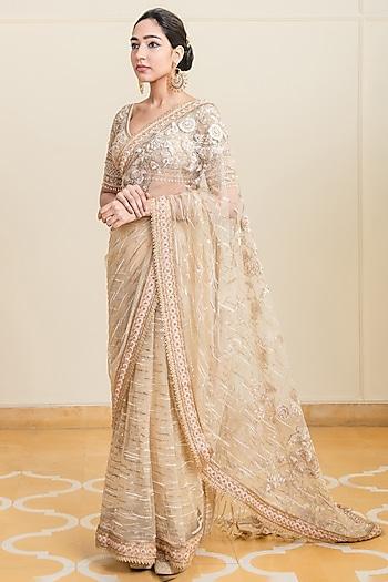 Gold Embroidered Saree Set by Tarun Tahiliani