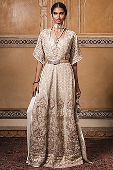 Ivory Embroidered Jacket With Bustier & Palazzo Pants by Tarun Tahiliani