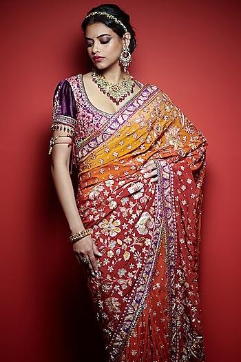 Sunset Ombre Embroidered Saree Set by Tarun Tahiliani