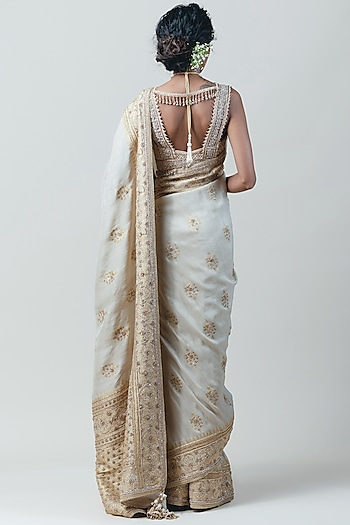 Ivory Embroidered Saree Set by Tarun Tahiliani