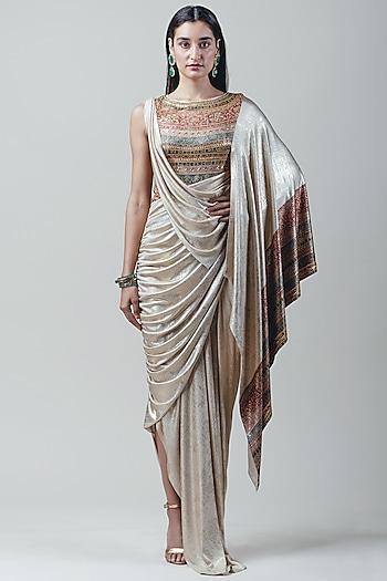 Gold Embellished Draped Saree by Tarun Tahiliani