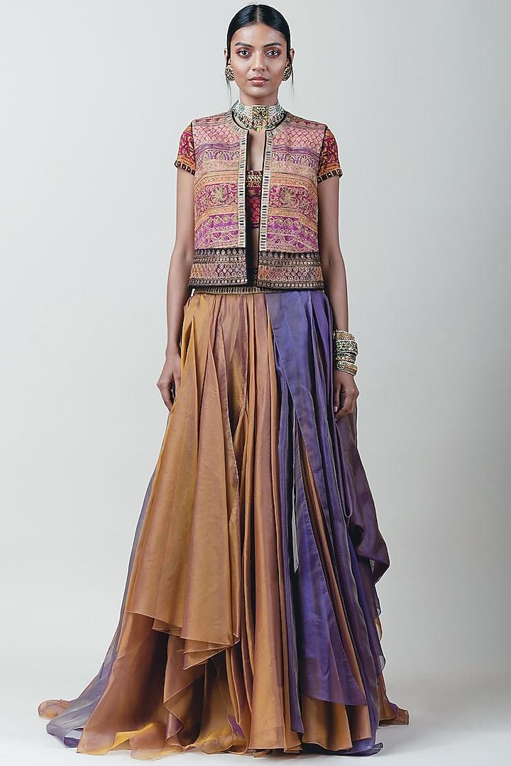 Pink Embellished & Printed Gilet Jacket by Tarun Tahiliani