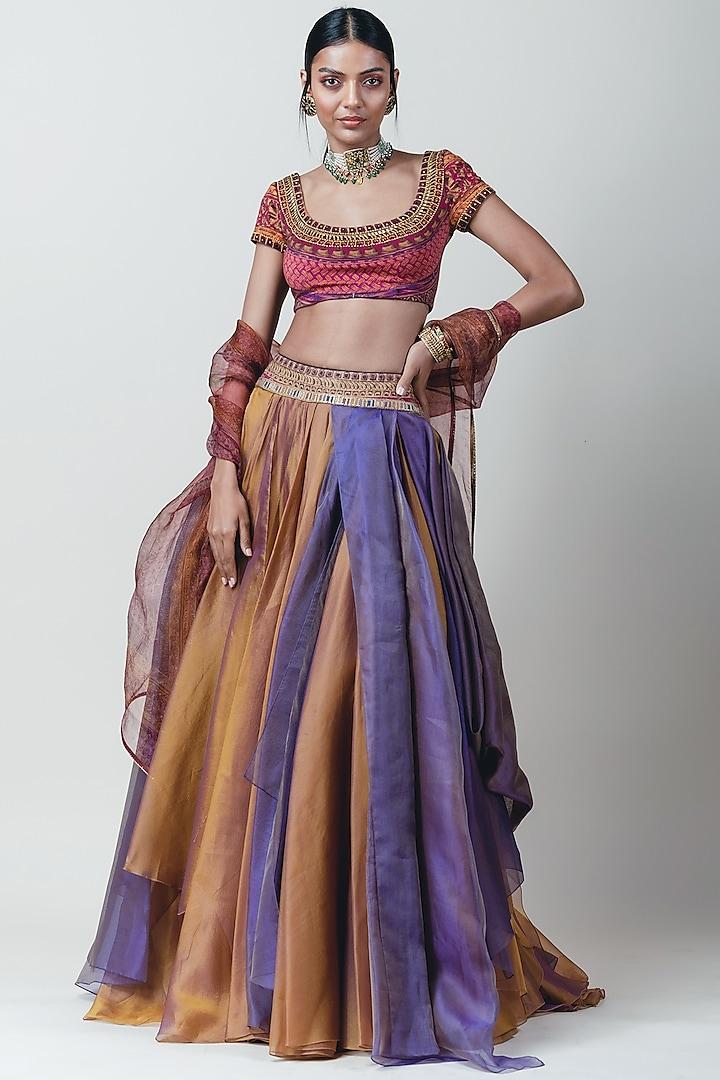 Multi Colored Draped Lehenga Set by Tarun Tahiliani