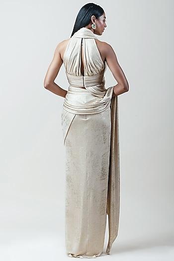 Gold Wrapped Concept Saree Set by Tarun Tahiliani