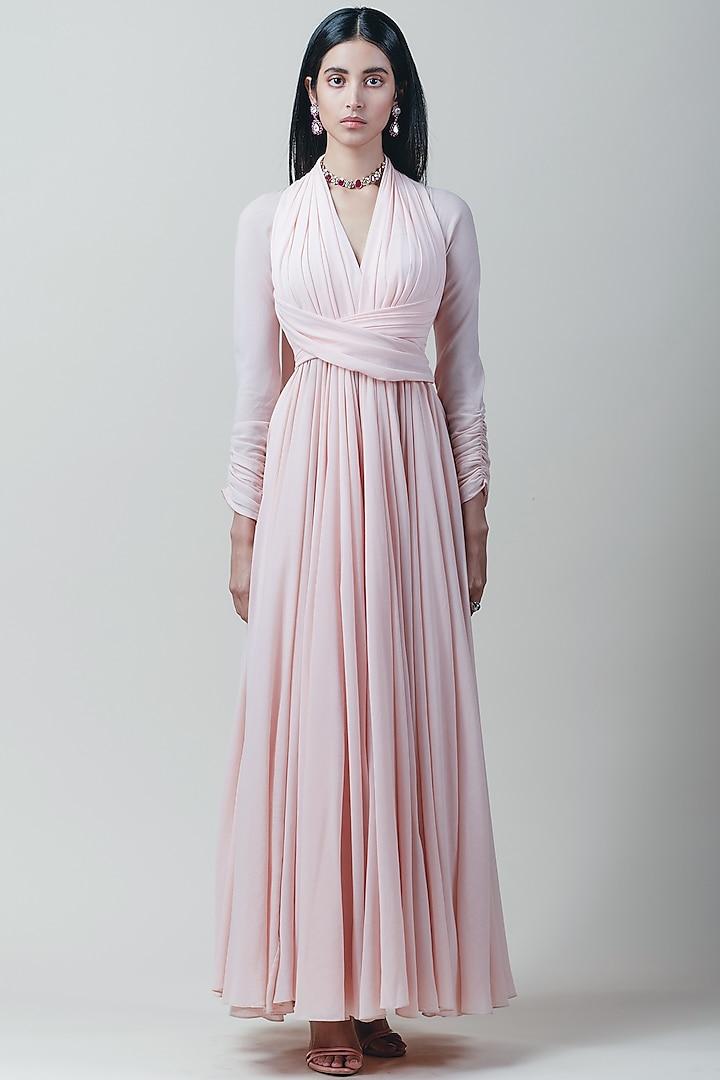 Blush Pink Wrapped & Draped Anarkali Set by Tarun Tahiliani