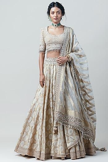 Ivory Embroidered Draped Lehenga Set by Tarun Tahiliani