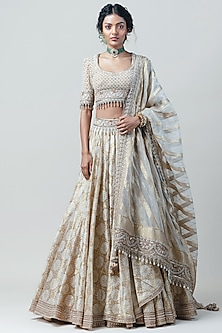 Ivory Embroidered Draped Lehenga Set by Tarun Tahiliani