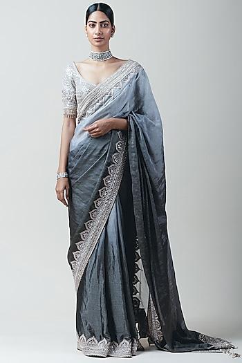 Grey Ombre Embroidered Saree Set by Tarun Tahiliani