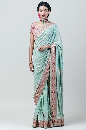 Jade Chikankari Saree Set by Tarun Tahiliani