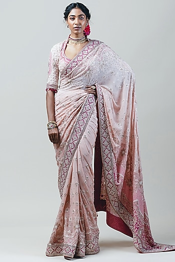 Blush Pink Ombre Saree Set by Tarun Tahiliani