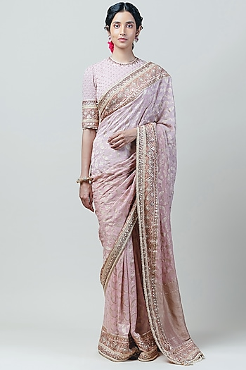 Blush Pink Embroidered Saree Set by Tarun Tahiliani