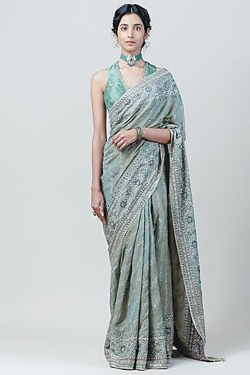 Jade Embroidered Saree Set by Tarun Tahiliani