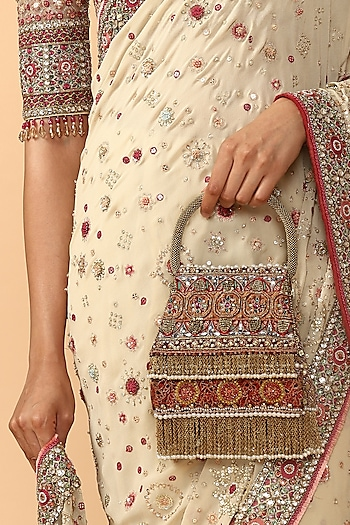 Multi Colored Embroidered Potli by Tarun Tahiliani