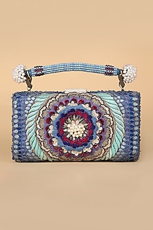 Blue Embroidered Pental Bag by Tarun Tahiliani