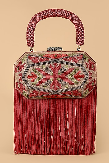 Red Embroidered Clutch With Fringe by Tarun Tahiliani