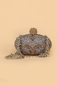 Grey Hand Embroidered Clutch by Tarun Tahiliani
