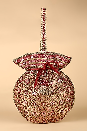 Maroon Embroidered Potli Bag by Tarun Tahiliani