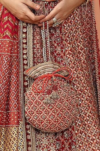 Maroon Hand Embroidered Potli Bag by Tarun Tahiliani