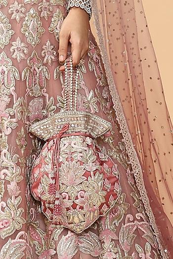 Pink Embroidered Potli Bag by Tarun Tahiliani