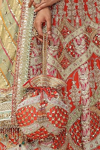 Orange Embroidered Potli Bag by Tarun Tahiliani