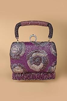 Purple Embroidered Clutch With Fringe by Tarun Tahiliani