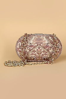Beige Embroidered Bag With Crystal Frame by Tarun Tahiliani