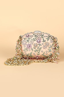 Pink Crystals Embroidered Clutch by Tarun Tahiliani