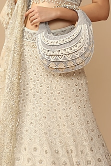 Off White & Black Embroidered Clutch by Tarun Tahiliani