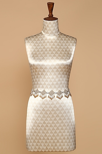 Silver & Bronze Belt With Beaded Fringe by Tarun Tahiliani